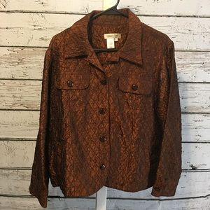Coldwater Creek Brown Shiny Blazer Size 1X